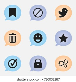 Set Of 9 Editable Internet Icons. Includes Symbols Such As Deny, Tag, Emoji And More. Can Be Used For Web, Mobile, UI And Infographic Design.
