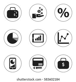 Set Of 9 Editable Logical Icons. Includes Symbols Such As Circle Diagram, Profit, Money Bag And More. Can Be Used For Web, Mobile, UI And Infographic Design.