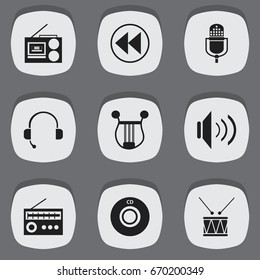 Set Of 9 Editable Media Icons. Includes Symbols Such As Compact Disk, Retro Tuner, Call Center And More. Can Be Used For Web, Mobile, UI And Infographic Design.