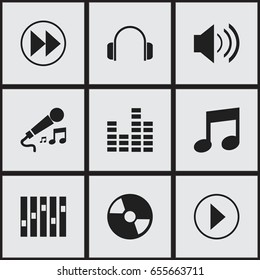 Set Of 9 Editable Melody Icons. Includes Symbols Such As Sound, Rewind, Earphone And More. Can Be Used For Web, Mobile, UI And Infographic Design.
