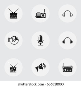 Set Of 9 Editable Melody Icons. Includes Symbols Such As Timpano, Headsets, Drum And More. Can Be Used For Web, Mobile, UI And Infographic Design.