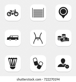 Set Of 9 Editable Mixed Icons. Includes Symbols Such As Drug, Blank, Badminton Ball And More. Can Be Used For Web, Mobile, UI And Infographic Design.