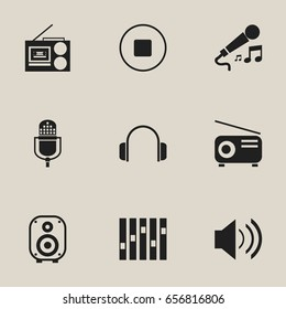 Set Of 9 Editable Mp3 Icons. Includes Symbols Such As Sound, Speaker, Break Music And More. Can Be Used For Web, Mobile, UI And Infographic Design.
