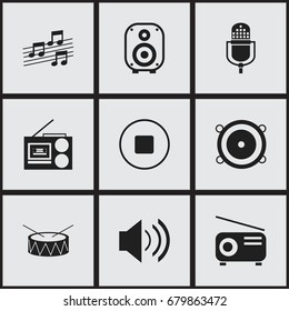 Set Of 9 Editable Music Icons. Includes Symbols Such As Media Fm, Cassette Player, Sound And More. Can Be Used For Web, Mobile, UI And Infographic Design.