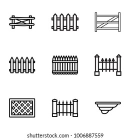 set of 9 editable outline icons such as fence, lattice