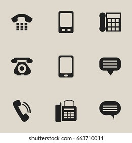 Set Of 9 Editable Phone Icons. Includes Symbols Such As Call, Forum, Office Telephone And More. Can Be Used For Web, Mobile, UI And Infographic Design.