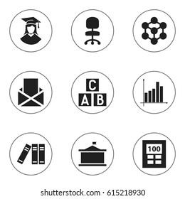 Set Of 9 Editable School Icons. Includes Symbols Such As Graph, Molecule, Univercity And More. Can Be Used For Web, Mobile, UI And Infographic Design.