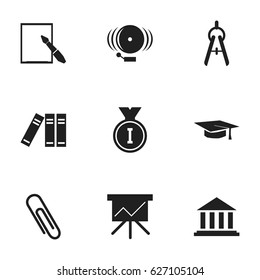 Set Of 9 Editable School Icons. Includes Symbols Such As Staple, First Place, Graduation Hat And More. Can Be Used For Web, Mobile, UI And Infographic Design.
