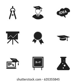 Set Of 9 Editable Science Icons. Includes Symbols Such As Victory Medallion, Diplomaed Male, Chemistry And More. Can Be Used For Web, Mobile, UI And Infographic Design.