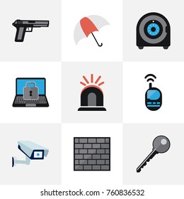 Set Of 9 Editable Security Flat Icons. Includes Symbols Such As Alarm, Lock, Barrier And More. Can Be Used For Web, Mobile, UI And Infographic Design.