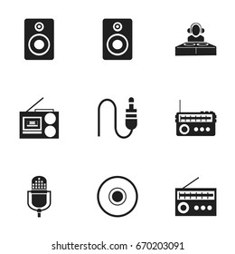 Set Of 9 Editable Song Icons. Includes Symbols Such As Disco Club, Cd, Cassette Player And More. Can Be Used For Web, Mobile, UI And Infographic Design.
