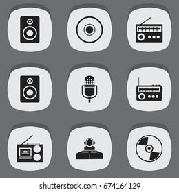 Set Of 9 Editable Sound Icons. Includes Symbols Such As Microphone, Cassette Player, Audio Bass And More. Can Be Used For Web, Mobile, UI And Infographic Design.