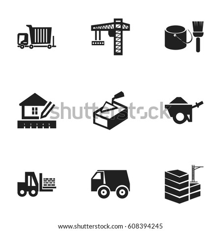 Set 9 Editable Structure Icons Includes Stock Vector (Royalty Free