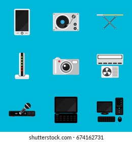 Set Of 9 Editable Tech Icons. Includes Symbols Such As Camera, Notebook, Turntable And More. Can Be Used For Web, Mobile, UI And Infographic Design.