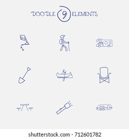 Set Of 9 Editable Trip Doodles. Includes Symbols Such As Shovel, Caravan, Picnic And More. Can Be Used For Web, Mobile, UI And Infographic Design.