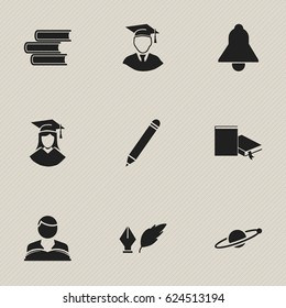 Set Of 9 Editable University Icons. Includes Symbols Such As Bookmark, Bell, Library And More. Can Be Used For Web, Mobile, UI And Infographic Design.