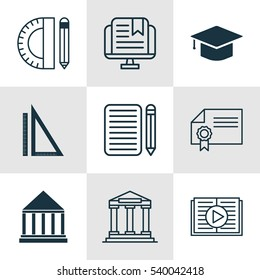 Set Of 9 Education Icons. Includes Home Work, Education Tools, College And Other Symbols. Beautiful Design Elements.