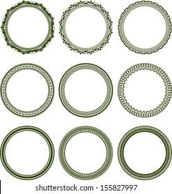 Set of 9 elegant round frames