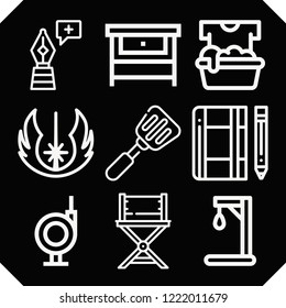 Set of 9 equipment outline icons such as gallow, pen, soak, chair, notebook, jedi, workbench, spatula
