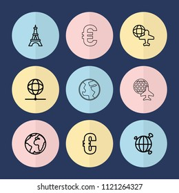 Set of 9 europe outline icons such as eiffel tower, euro, globe and plane, planet