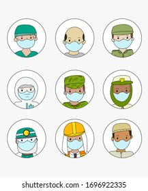 Set of 9 faces wearing masks military and medical protection. Avatar of different people of diverse countries.