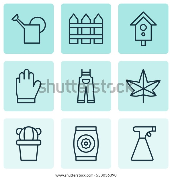 Set Of 9 Farm Icons. Includes Barrier, Desert Plant, Garden Clothes And Other Symbols. Beautiful Design Elements.