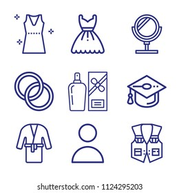 Set of 9 fashion outline icons such as profile, mirror, perfume, vest, mortarboard, dress, wedding rings