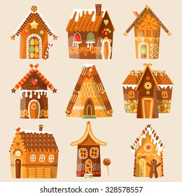 Set of 9 festive gingerbread houses. Christmas tradition. Vector illustration