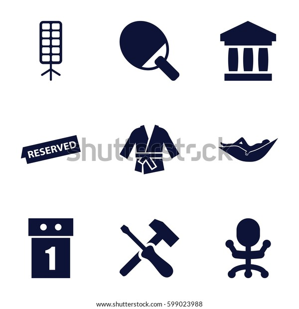 Set of 9   filled icons such as woman in hammock, soft box, reserved, kimono, office chair, washing machine on sale, bank, screwdriver