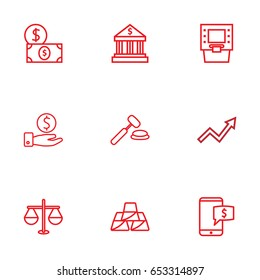 Set Of 9 Finance Outline Icons Set.Collection Of Grow Up, Atm, Dollar And Other Elements.