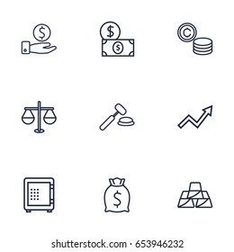 Set Of 9 Finance Outline Icons Set.Collection Of Golden Bars, Auction, Dollar And Other Elements.
