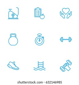 Set Of 9 Fitness Outline Icons.Collection Of Stopwatch, Kettlebells, Health Care And Other Elements.