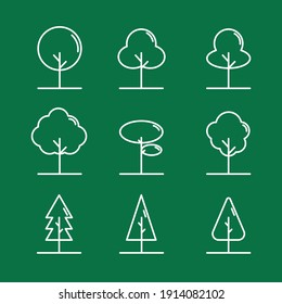 Set of 9 flat tree vectors. Colored green and white. Named layers in vector file. Line vector.