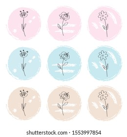 Set of 9 floral circle stickers in modern graphic style with pastel palette. Designed for BuJo (bullet journal), planners, diaries, calendars, card templates, posters, flyers and other paper design