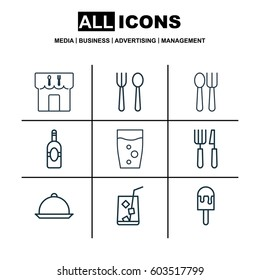 Set Of 9 Food Icons. Includes Restaurant, Cutlery, Lolly And Other Symbols. Beautiful Design Elements.