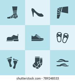 Set of 9 foot filled icons such as boot, socks, bandaged leg, women shoes, trainer, footprint