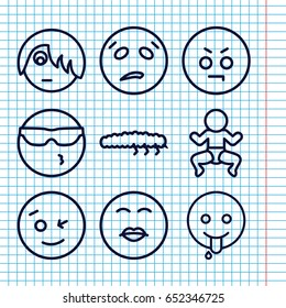 Set Of 9 Funny Outline Icons Such As Caterpillar Wink Emot Cool In