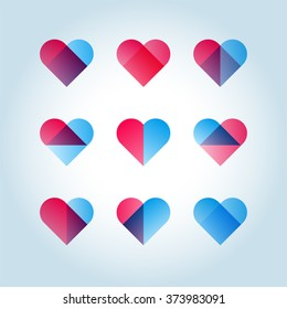 Set of 9 geometric blue-red hearts