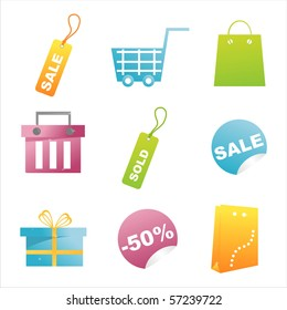 set of 9 glossy shopping icons