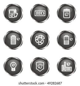 Set of 9 glossy web icons (set 16). Black color.