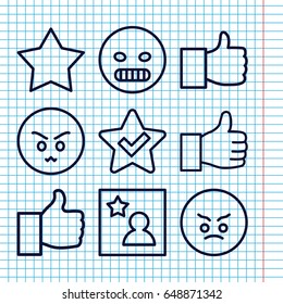 Set of 9 good outline icons such as favorite photo, angry emot, like, star, thumbs up