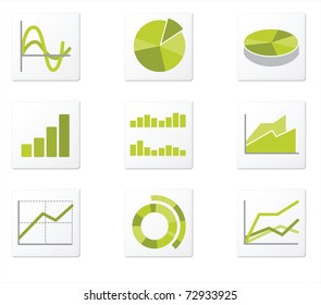 Set of 9 graph icon variations
