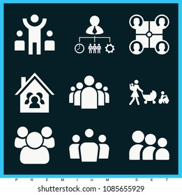 Set of 9 group filled icons such as group of people in a formation, group profile users, working team, leader, team, teamwork, family, mother walking with three babies