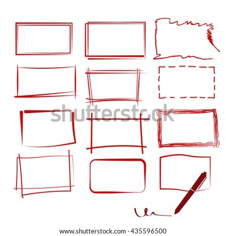 Set 9 Grunge Red Frame Pen Stock Vector Royalty Free 435596500