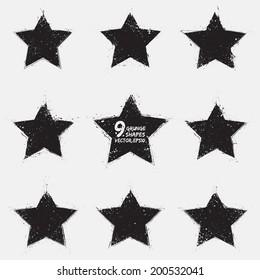 Set of 9 grunge vector stars. Design elements.  Vintage star. Retro star. Abstract vector background. Hand drawn. Retro background. Vintage background