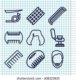 Set of 9 haircut outline icons such as comb, barber chair, hair curler, straight hair, man hairstyle