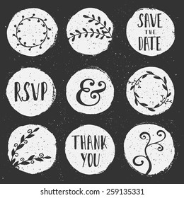 A set of 9 hand drawn chalkboard circles with floral decorative elements.