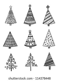 Set of 9 hand drawn Christmas trees
