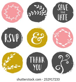 A set of 9 hand drawn paint circles with wedding decorative elements isolated on white.