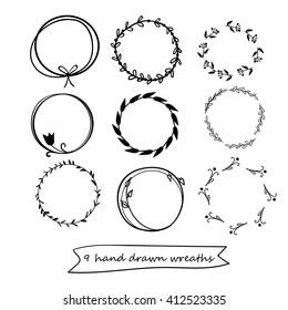 set of 9 hand drawn wreaths. hand drawn floral frames, vector design elements